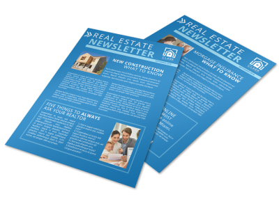 Simple Blue Real Estate Newsletters Template preview