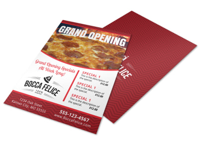Pizza Restaurant Grand Opening Flyer Template preview