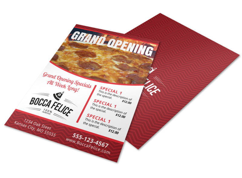 pizza restaurant grand opening flyer template