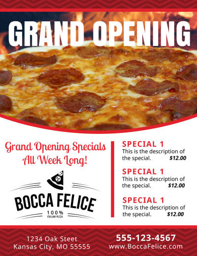 Pizza Restaurant Grand Opening Flyer Template Preview 1