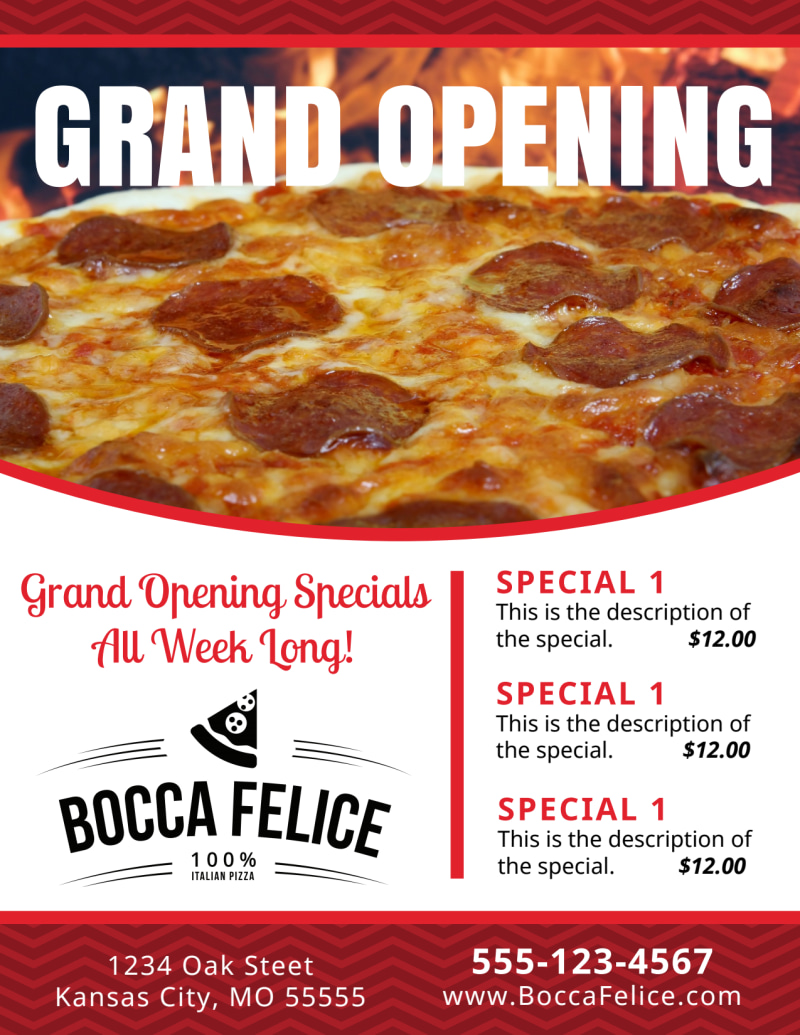 Pizza Restaurant Grand Opening Flyer Template Preview 2