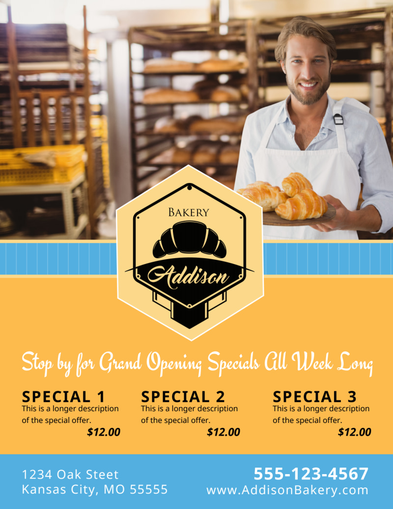 Bakery Grand Opening Flyer Template Preview 3