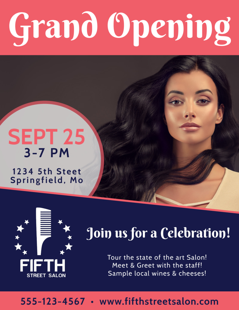 Hair Salon Grand Opening Flyer Template Preview 2