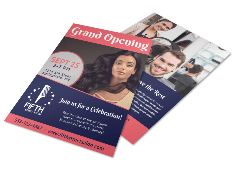Hair Salon Grand Opening Flyer Template Preview 1