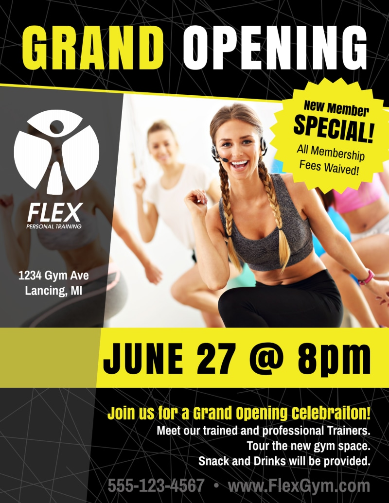 Fitness Gym Grand Opening Flyer Template Preview 2