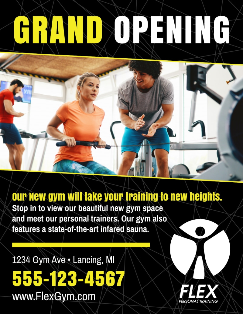 Fitness Gym Grand Opening Flyer Template Preview 3