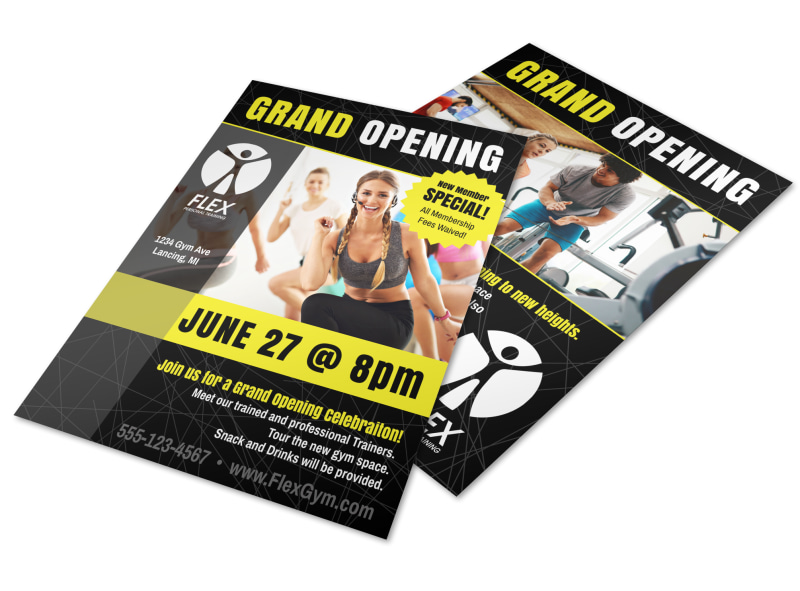 Fitness Gym Grand Opening Flyer Template  Mycreativeshop