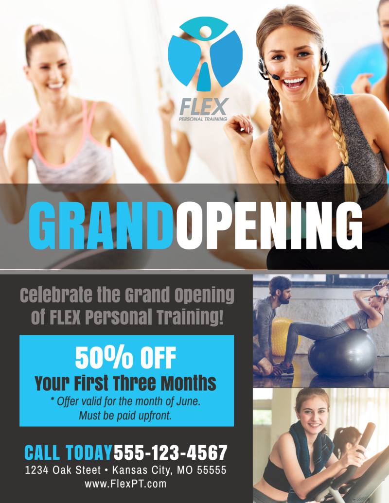 Fitness Grand Opening Flyer Template Preview 2