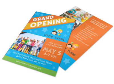 Awesome Daycare Grand Opening Flyer Template preview