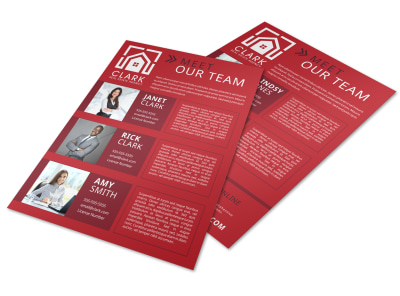 Red Meet Our Team Flyer Template preview