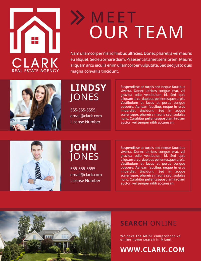 Red Meet Our Team Flyer Template Preview 3
