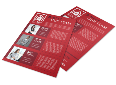 Red Meet Our Team Flyer Template Preview 1