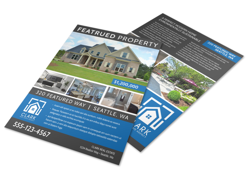 Blue Featured Property Flyer Template Mycreativeshop