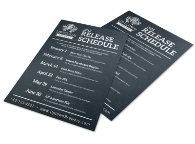 Classic Brewery Release Schedule Flyer Template preview