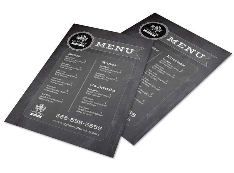 Chalk Brewery Menu Template