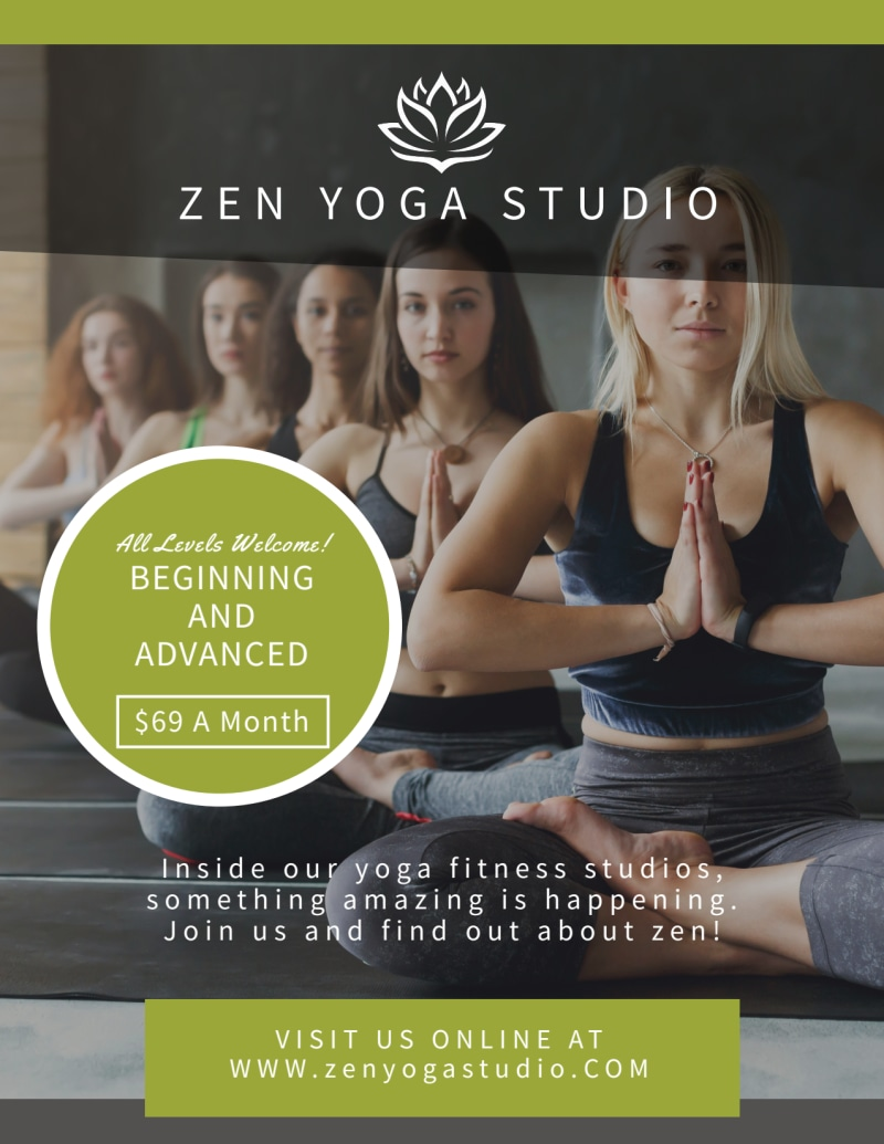 Zen Yoga Studio Flyer Template Preview 2
