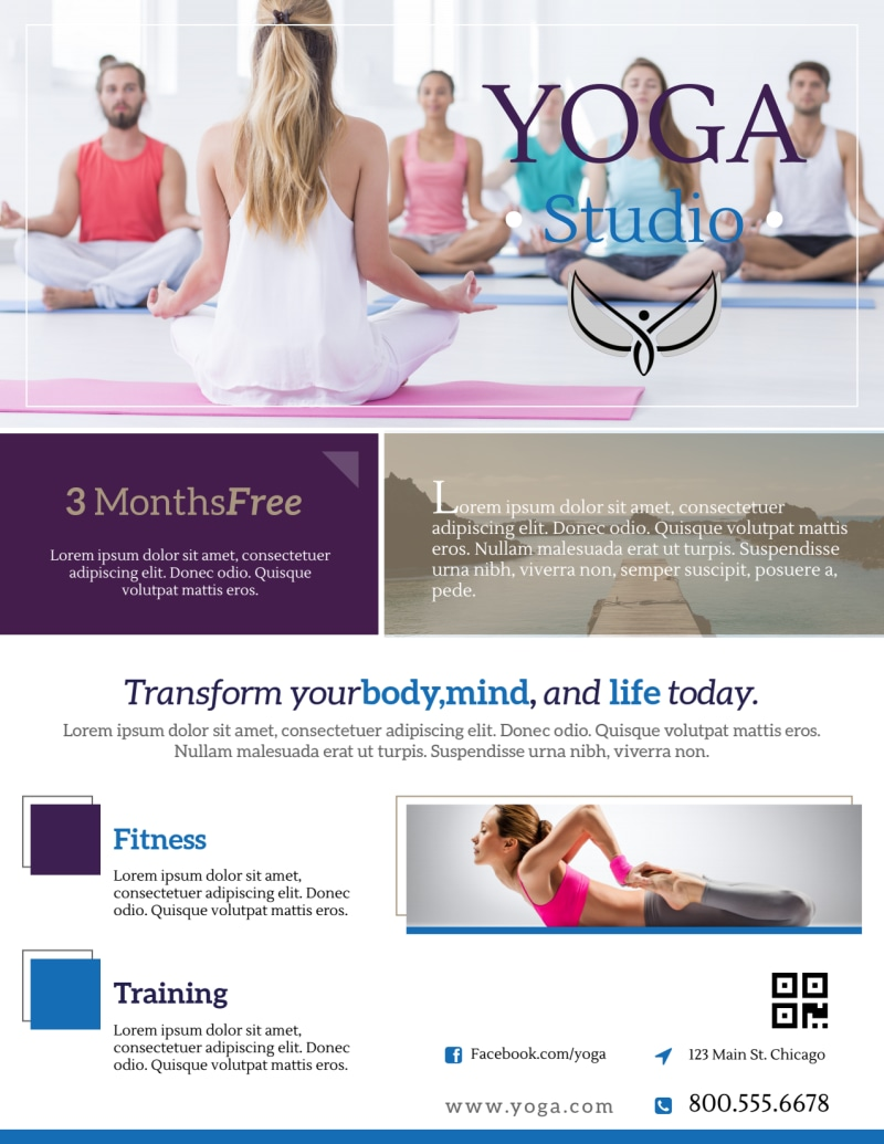 Mindful Yoga Studio Flyer Template Preview 2