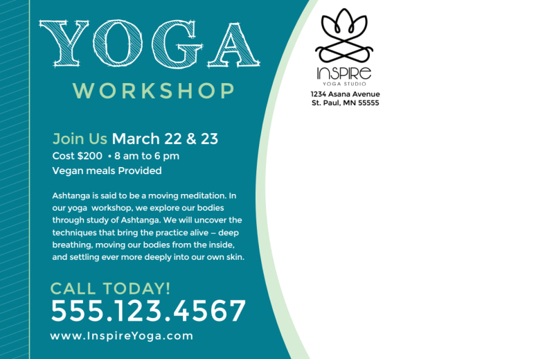 Yoga Workshop Postcard Template Preview 3