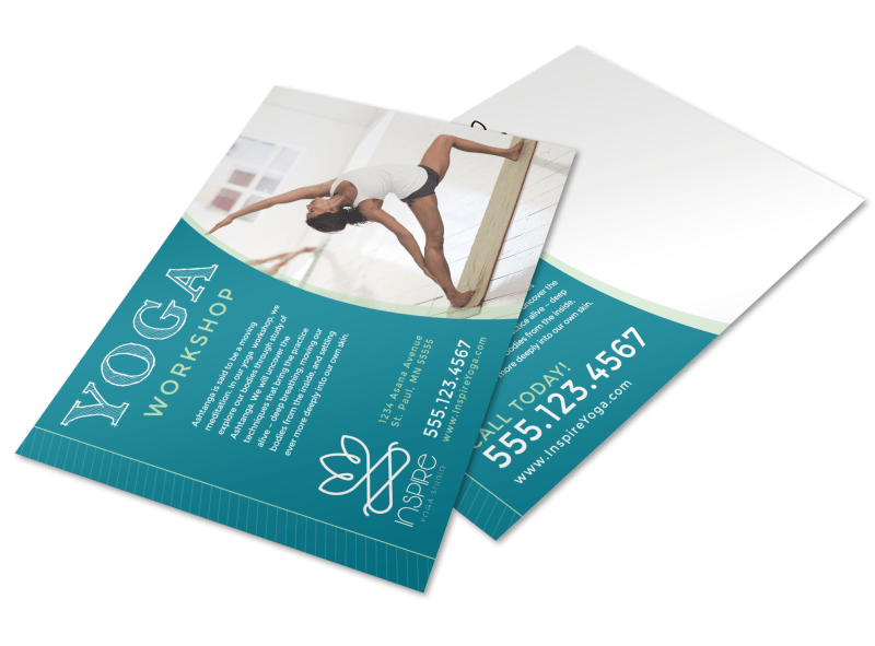 Yoga Workshop Postcard Template Preview 1