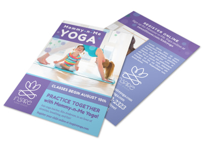 Mom & Kids Yoga Flyer Template preview