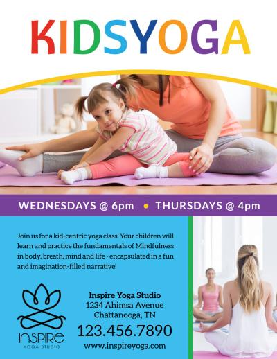 Fun Kids Yoga Flyer Template Preview 1