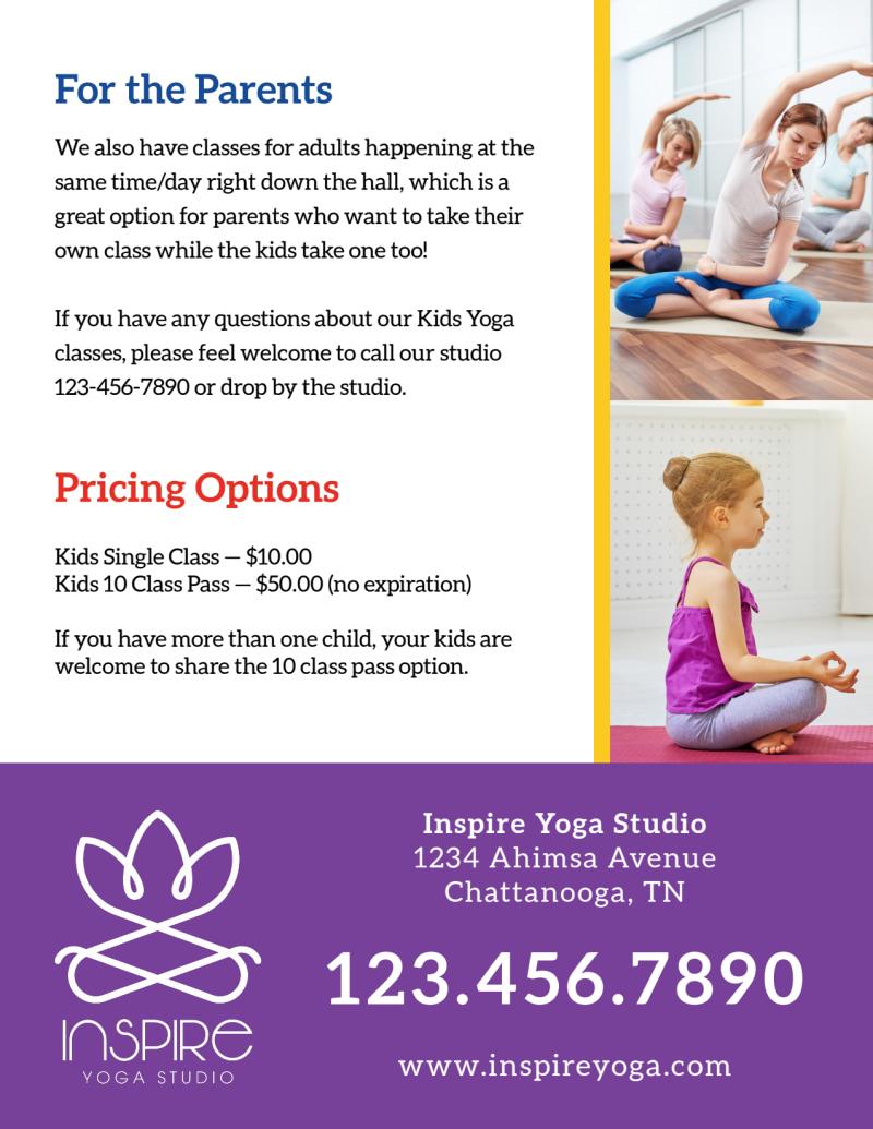 Fun Kids Yoga Flyer Template Preview 3