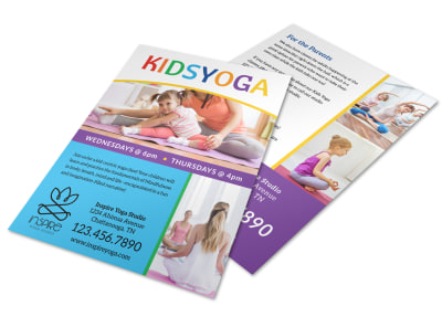 Fun Kids Yoga Flyer Template preview