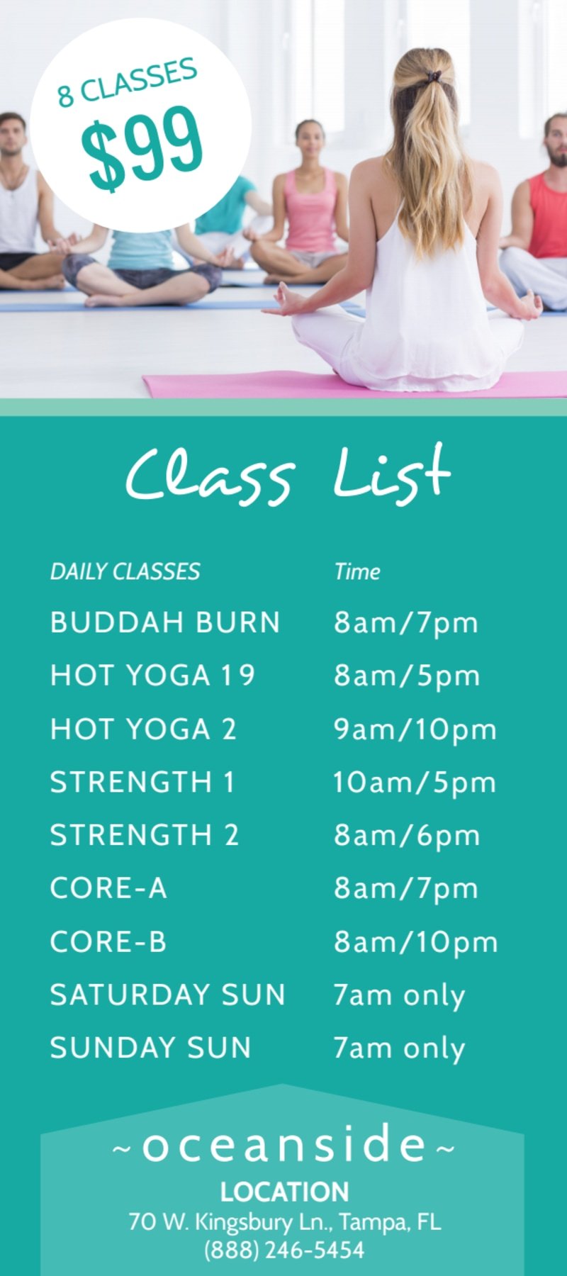 Yoga Studio Class Details Flyer Template Preview 3