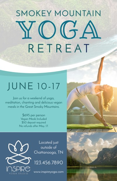 Mountain Yoga Retreat Flyer Template Preview 1
