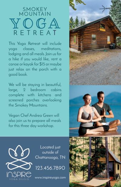 Mountain Yoga Retreat Flyer Template Preview 2