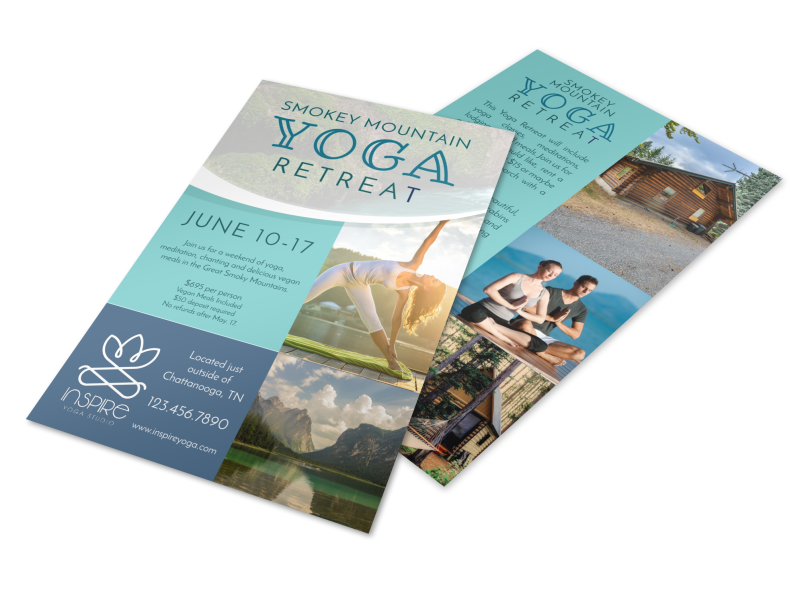 Mountain Yoga Retreat Flyer Template Preview 1