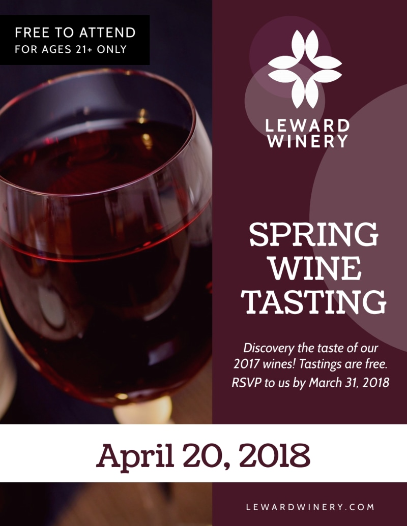 Spring Wine Tasting Flyer Template Preview 2