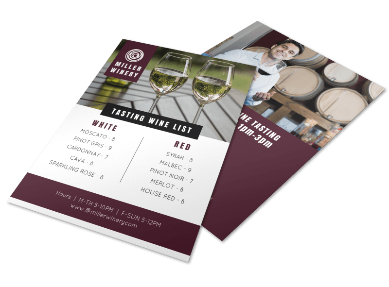 Tasting Wine List Flyer Template Preview 1