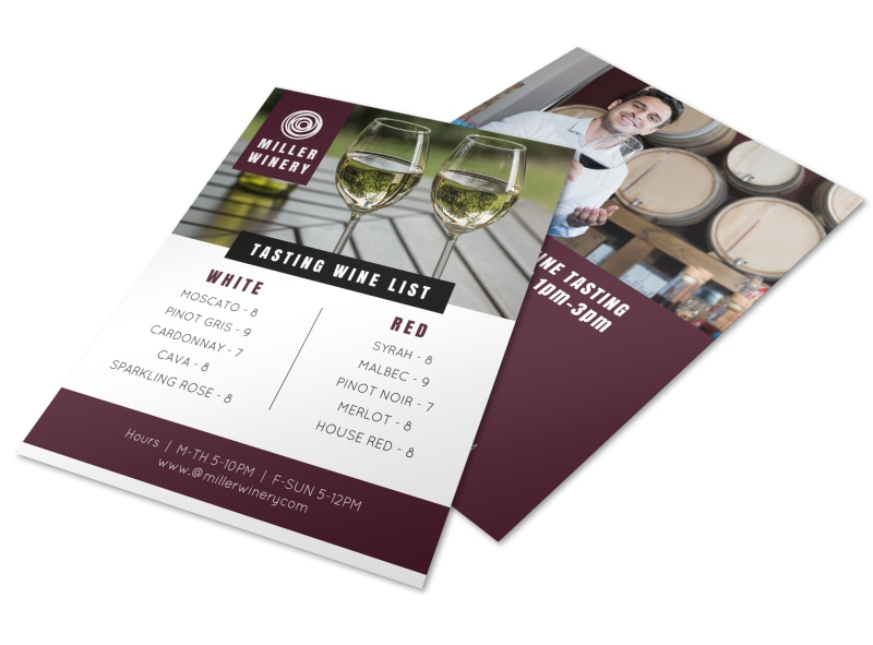Tasting Wine List Flyer Template Mycreativeshop