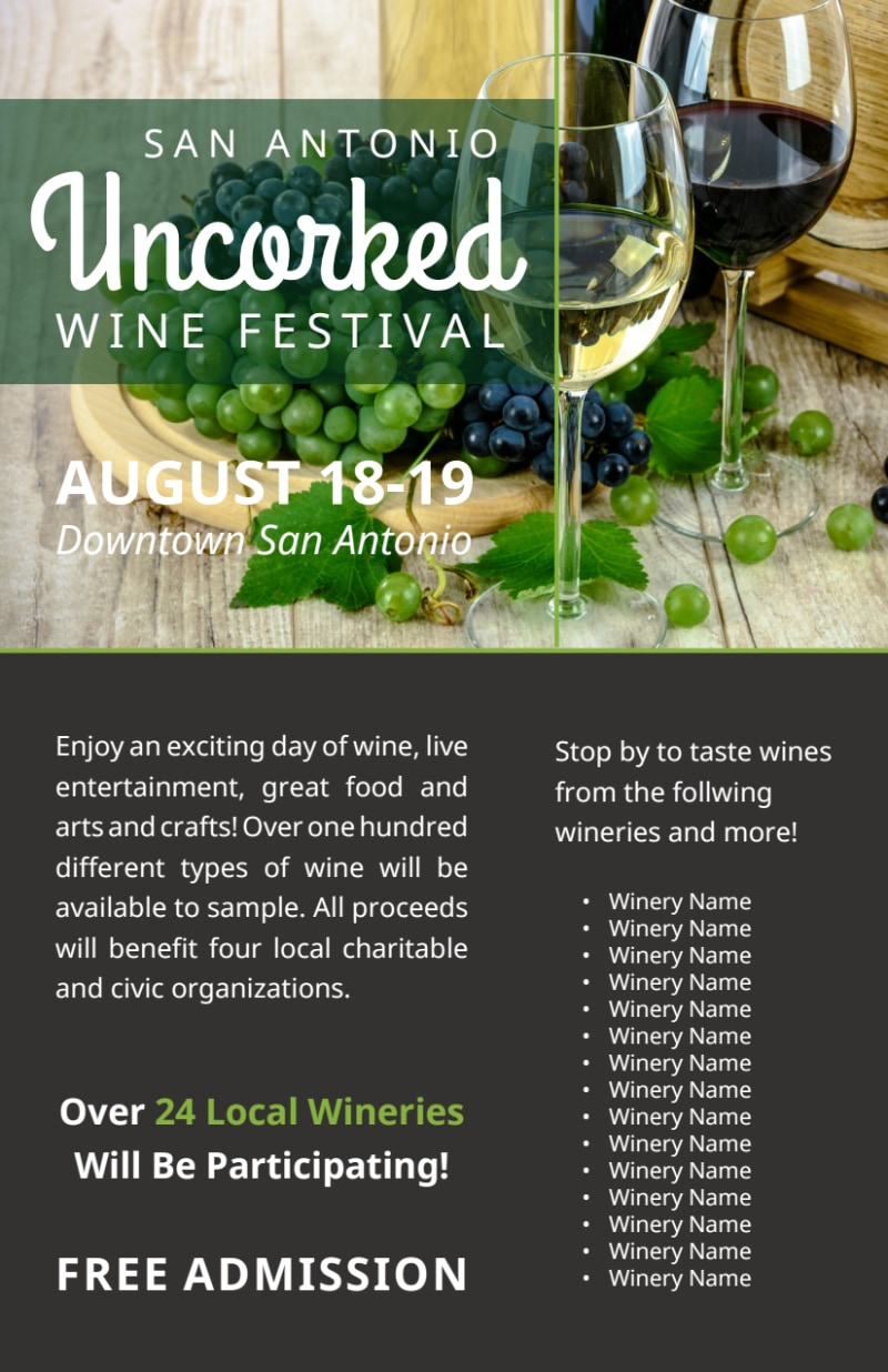 Uncorked Wine Festival Flyer Template Preview 3