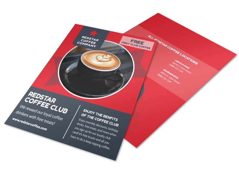 Red Coffee Rewards Program Flyer Template