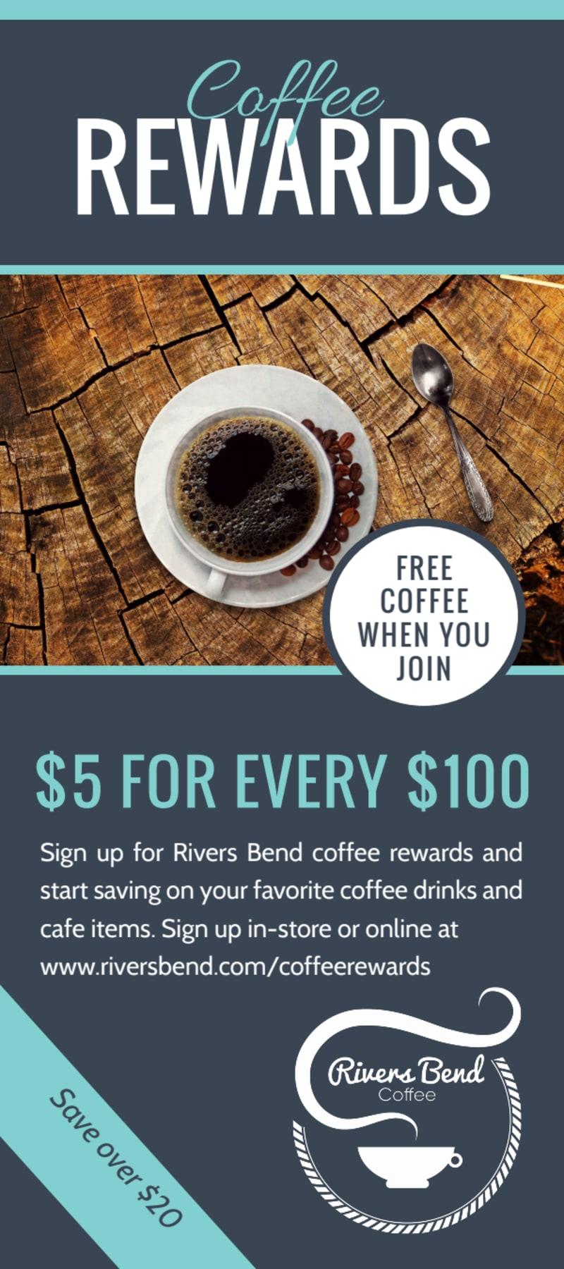 Coffee Rewards Program Flyer Template Preview 2