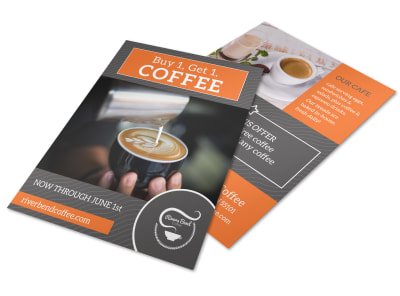 Orange Coffee BOGO Flyer Template preview