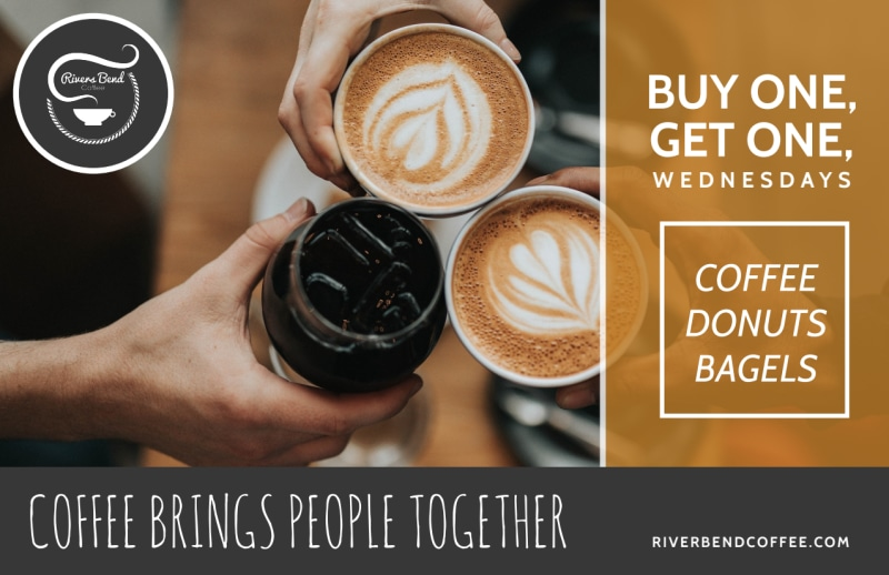 Wednesday Coffee BOGO Postcard Template Preview 2