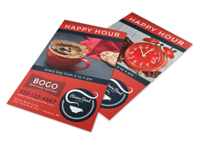 Coffee BOGO Happy Hour Flyer Template preview