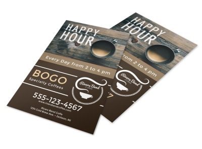 Happy Hour Coffee Shop Flyer Template preview