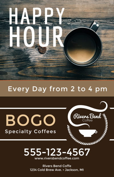 Happy Hour Coffee Shop Flyer Template Preview 1