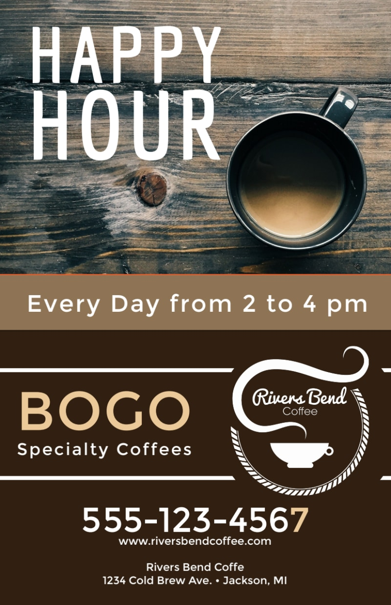 Happy Hour Coffee Shop Flyer Template Preview 3