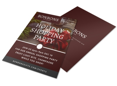 Holiday Shopping Party Flyer Template preview