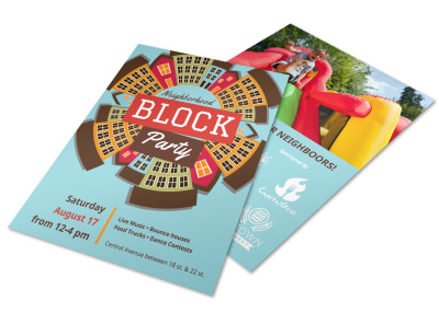 Neighborhood Block Party Flyer Template preview