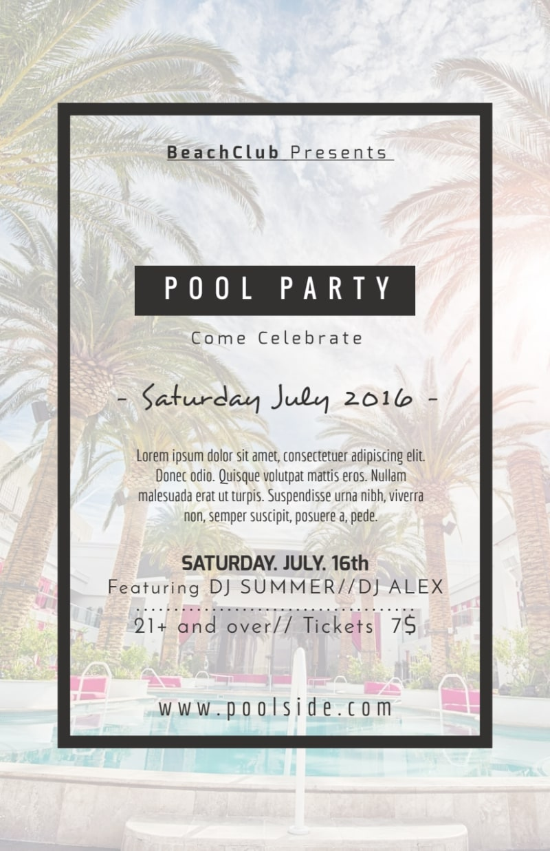 Fancy Pool Party Flyer Template Preview 3