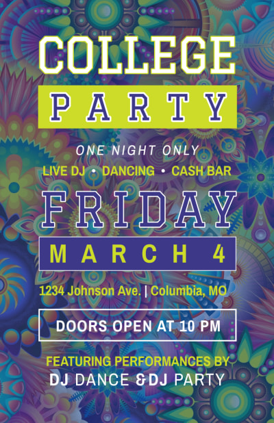 College Party Flyer Template Preview 1