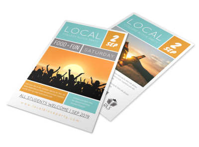 Local College Block Party Flyer Template preview