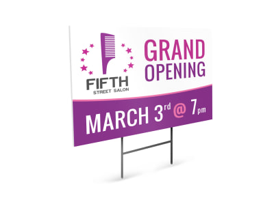 Grand Opening Salon Yard Sign Template preview