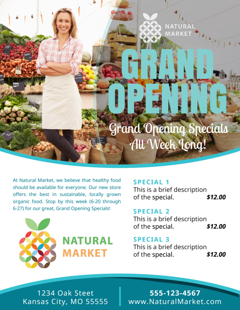 Grand Opening Market Flyer Template Preview 2